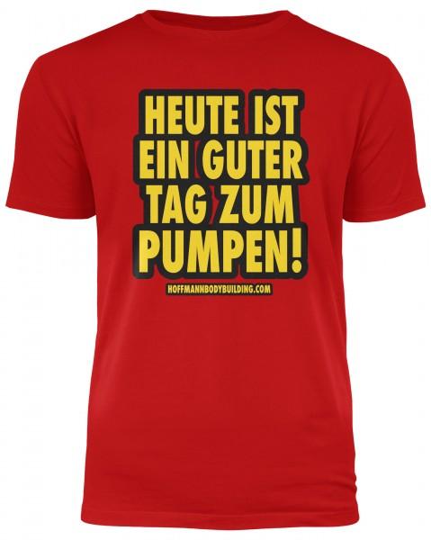 Heute ist ein guter Tag zum pumpen! - Rotes Herren T-Shirt
