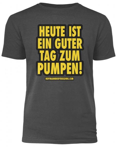 Heute ist ein guter Tag zum Pumpen! - Dunkelgrau meliertes Herren T-Shirt