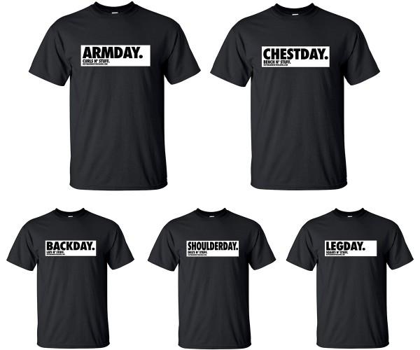 Trainingday 5er Set - Schwarze unisex T-Shirts
