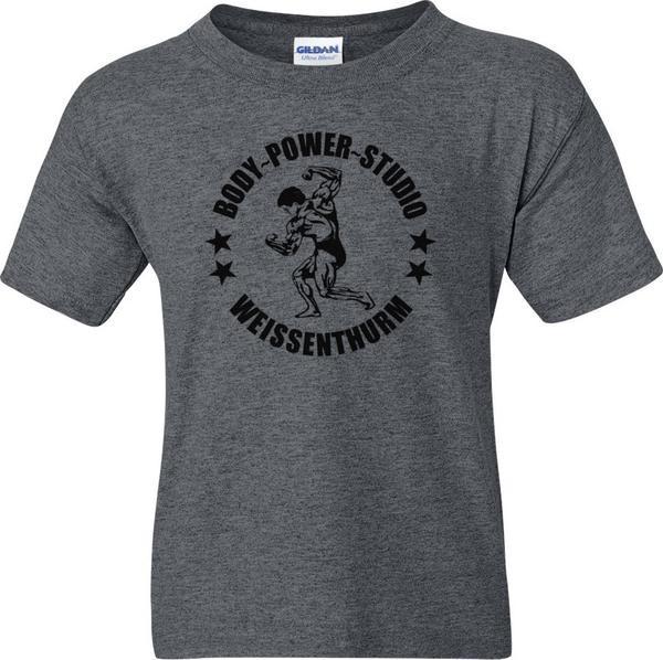 Body Power Studio - Dunkelgrau meliertes Herren T-Shirt mit schwarzem Logo