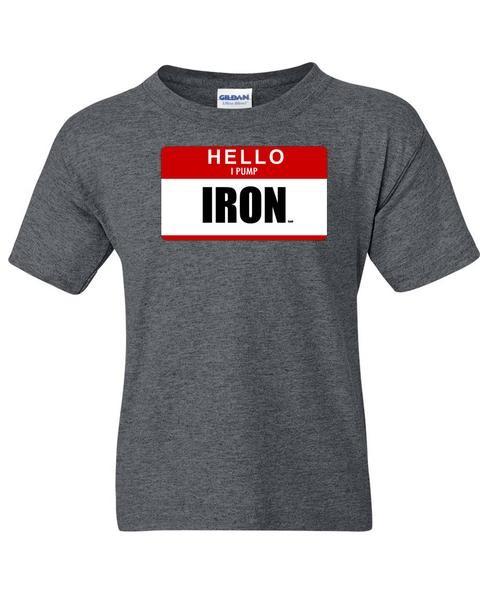 Hello I Pump Iron - Dunkelgrau meliertes Herren T-Shirt