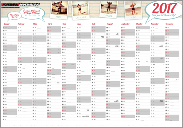 Bodybuilding-Kalender / Jahresplaner 2017 - DIN A 1