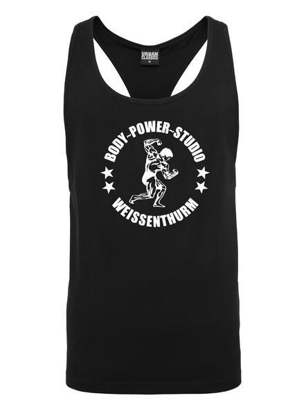 Body Power Studio - Schwarzes Tanktop mit weißem Logo